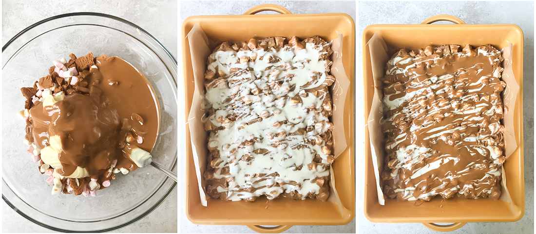 Transfer the mixture into the baking pan.