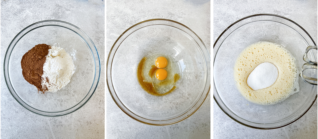 beat the eggs and sugar well until they become fluffy