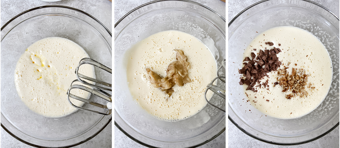 Stir in the mashed bananas, chopped walnut and chocolate