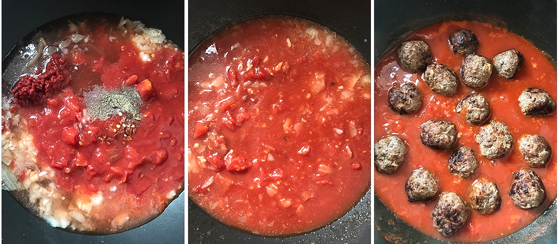 Toss the meatballs in the sauce