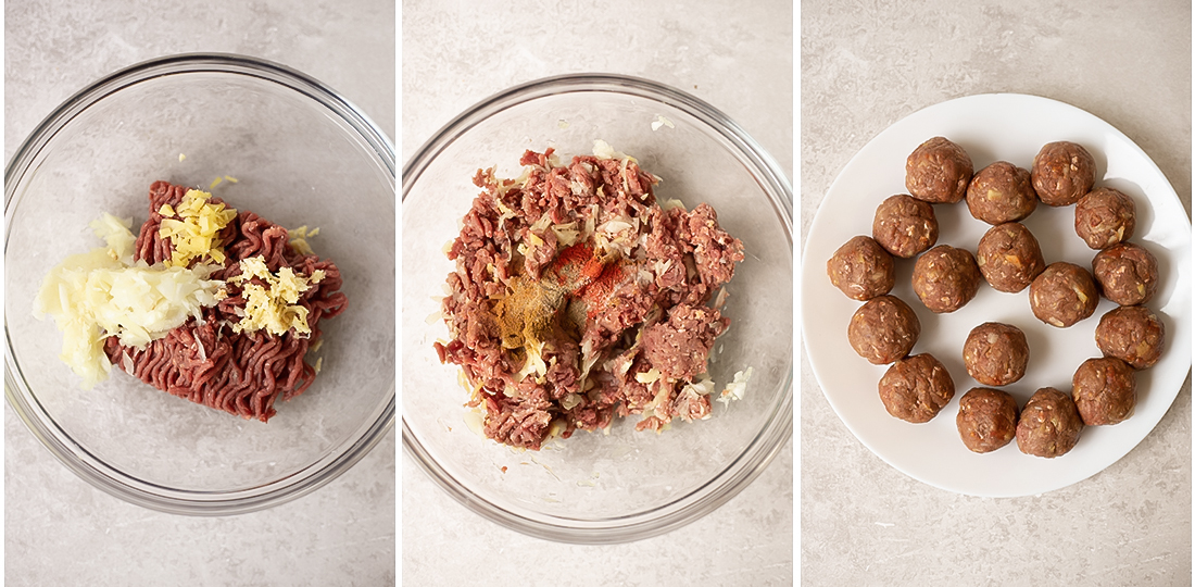 mix all the meatball's ingredients well until combined
