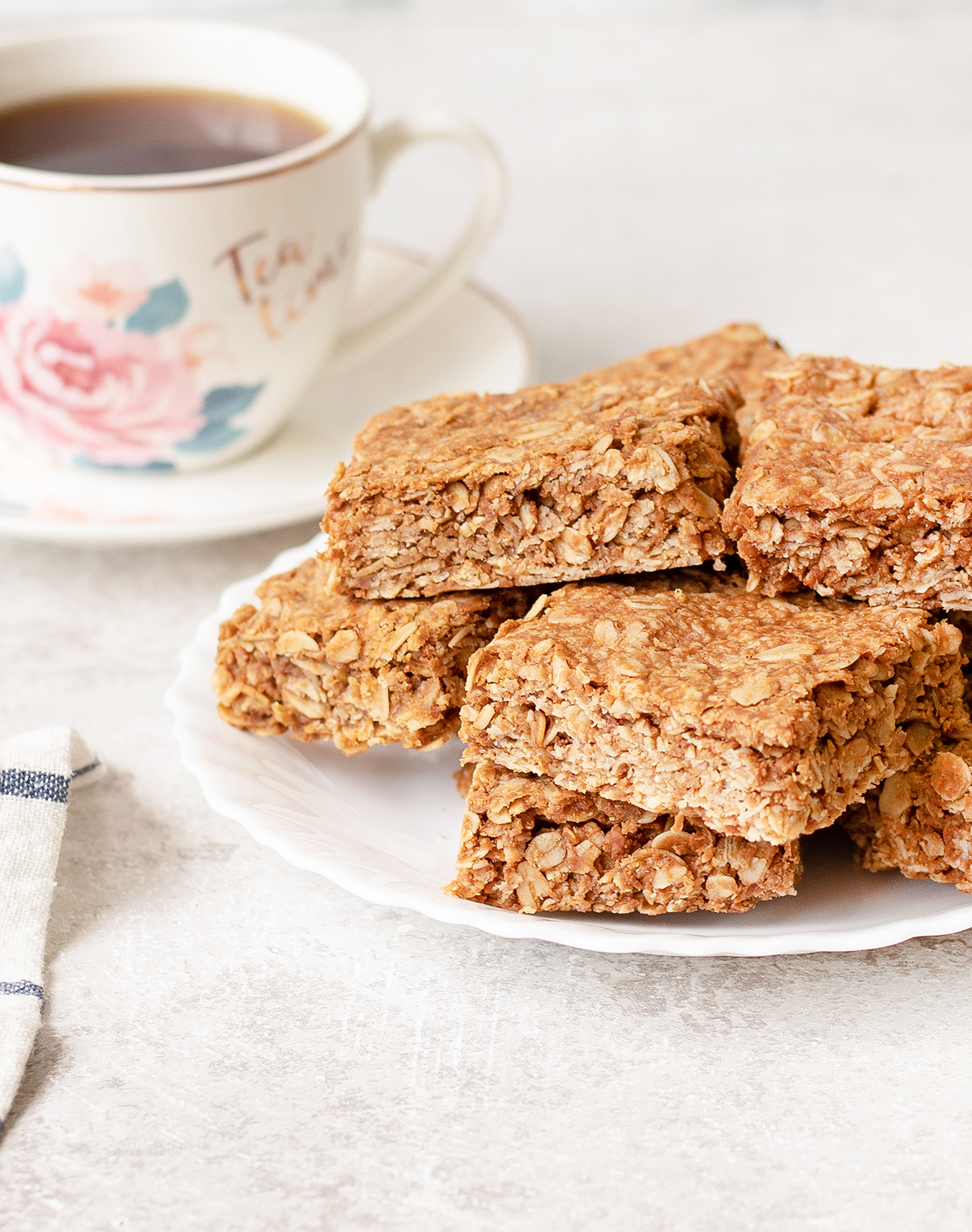 Peanut Butter Flapjacks and a cup of tea