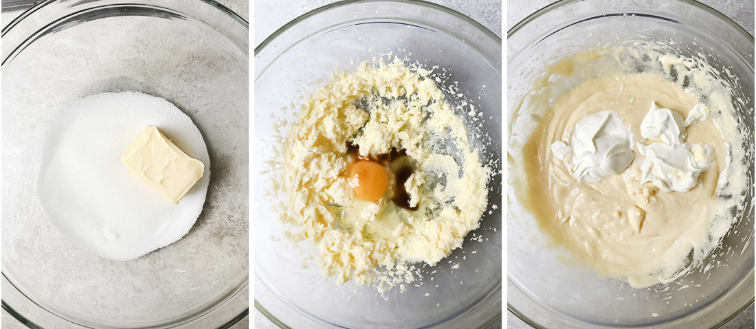 Add butter and sugar to a mixing bowl and mix.