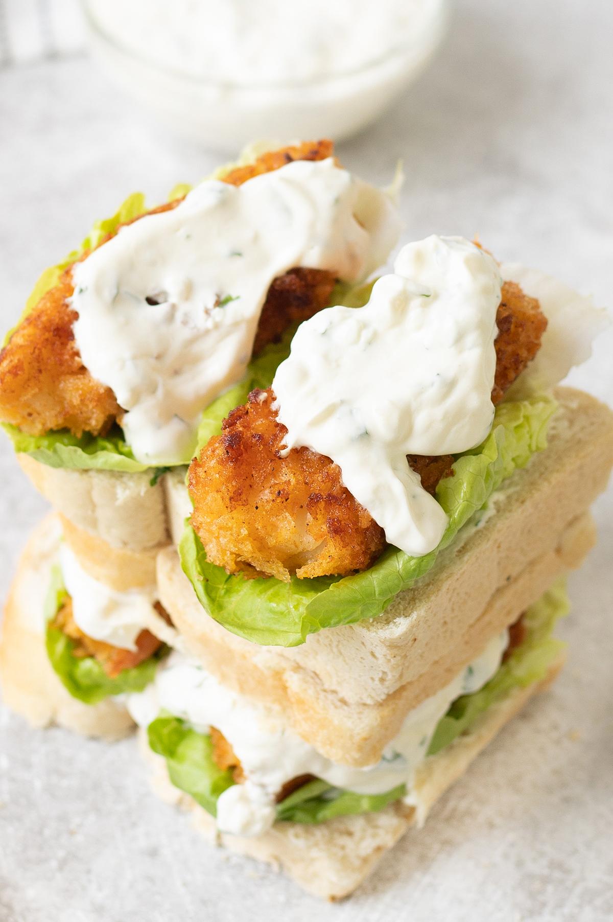 Fish Finger Sandwich With Sour Cream Sauce