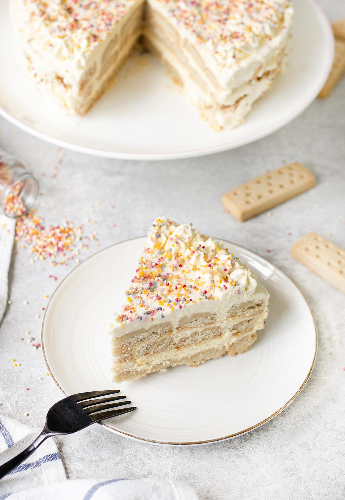 one slice of icebox cake