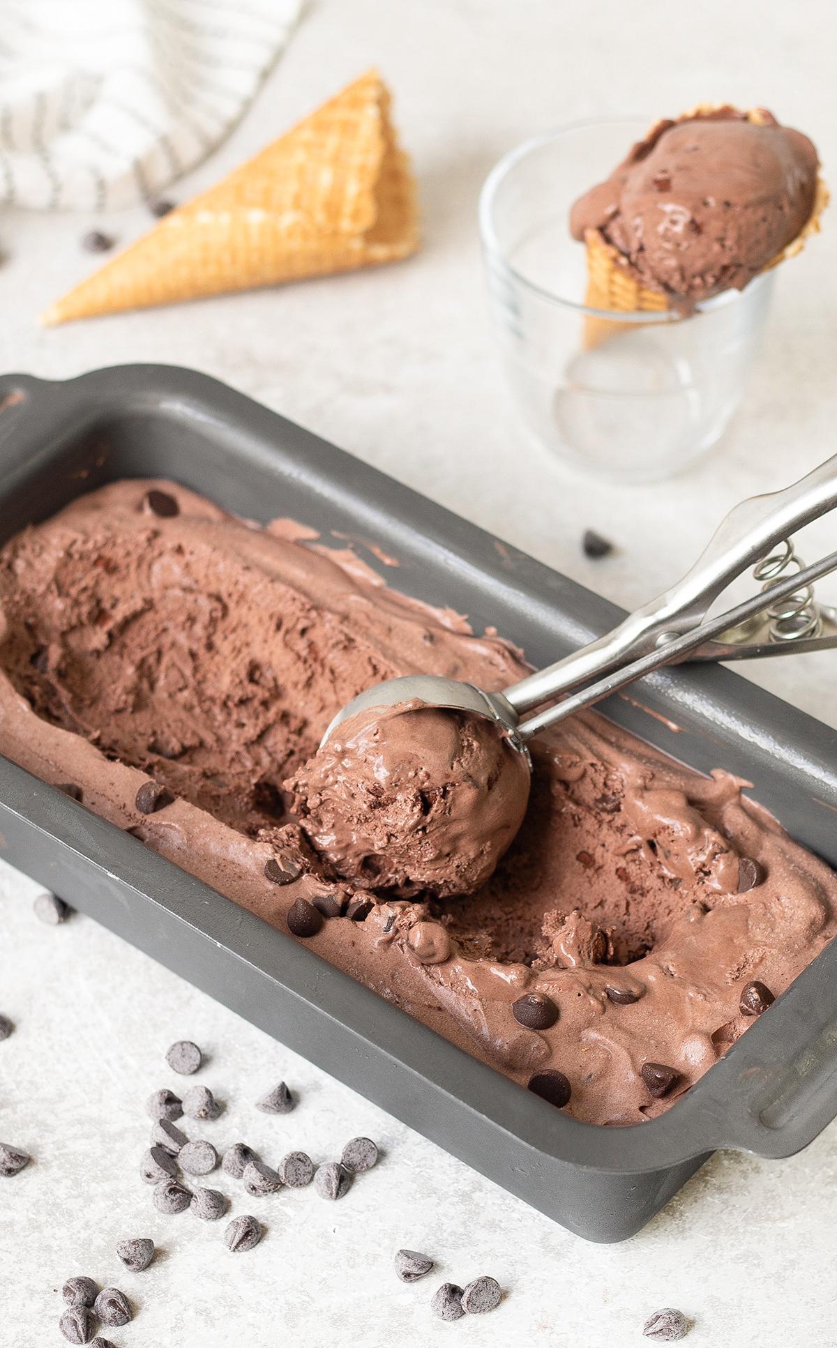 Homemade No-Churn Chocolate Ice Cream