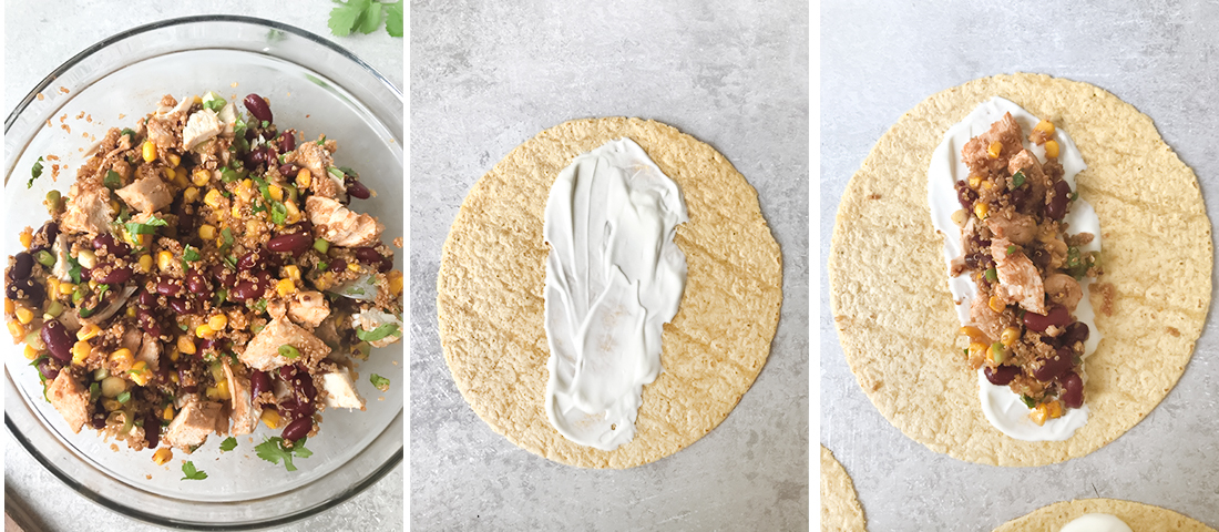 Spread a tablespoon of the sour cream in the middle of each tortilla.