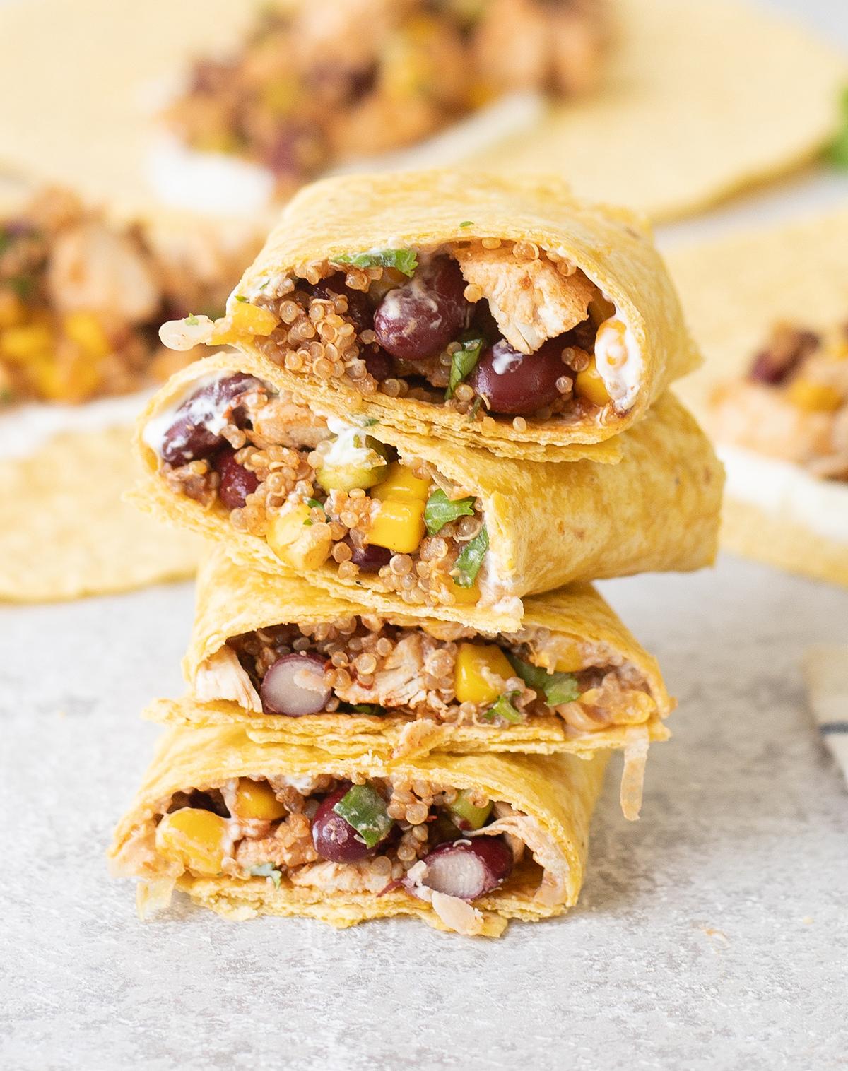 a pile of Mexican chicken quinoa wraps