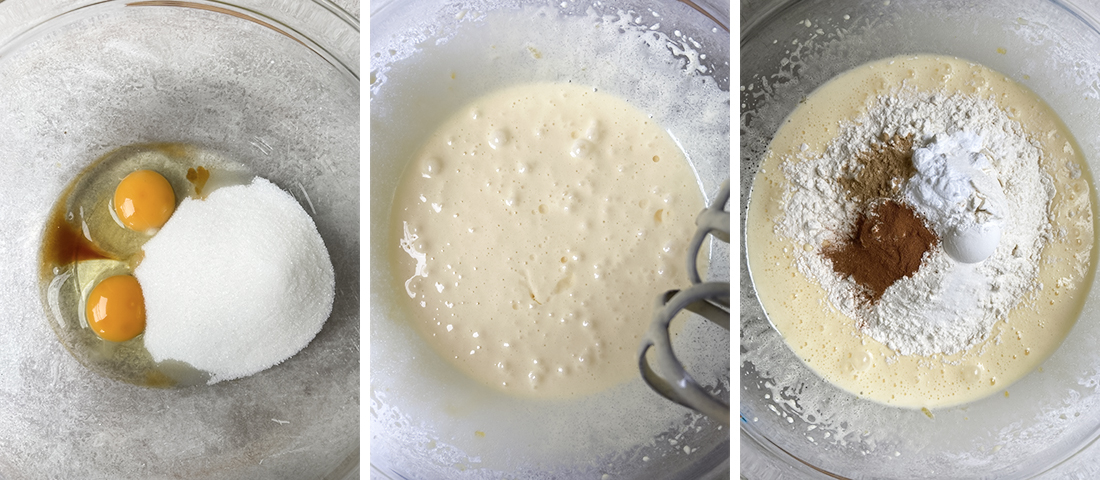 In a mixing bowl, whisk together sugar and eggs.