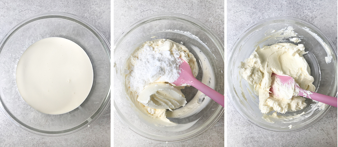 steps of Making the cream cheese frosting