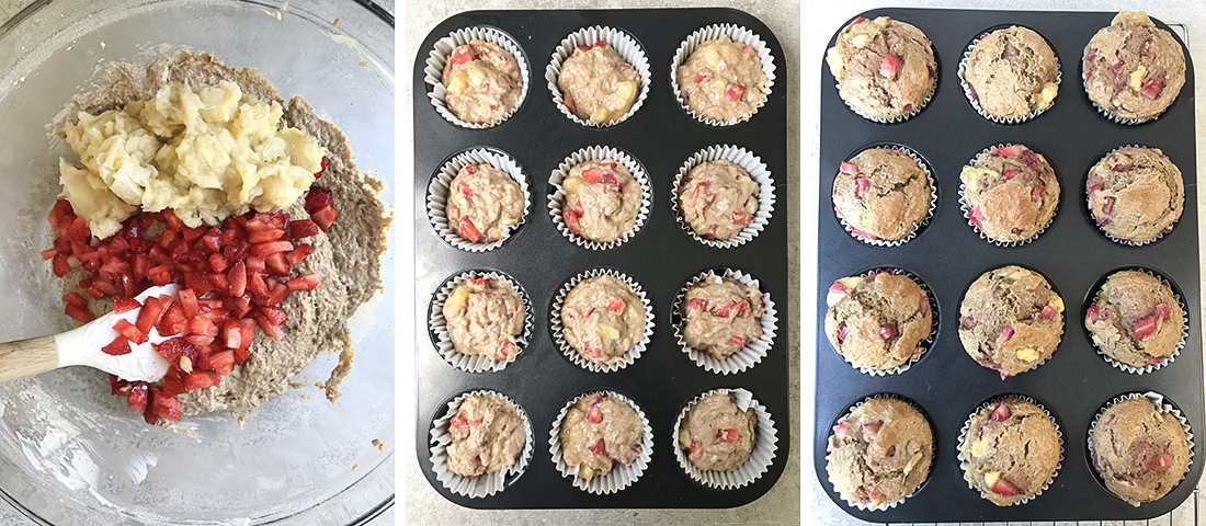 Scoop the batter into the muffin cups.