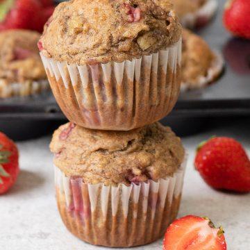 Whole Wheat Strawberry Banana Muffins