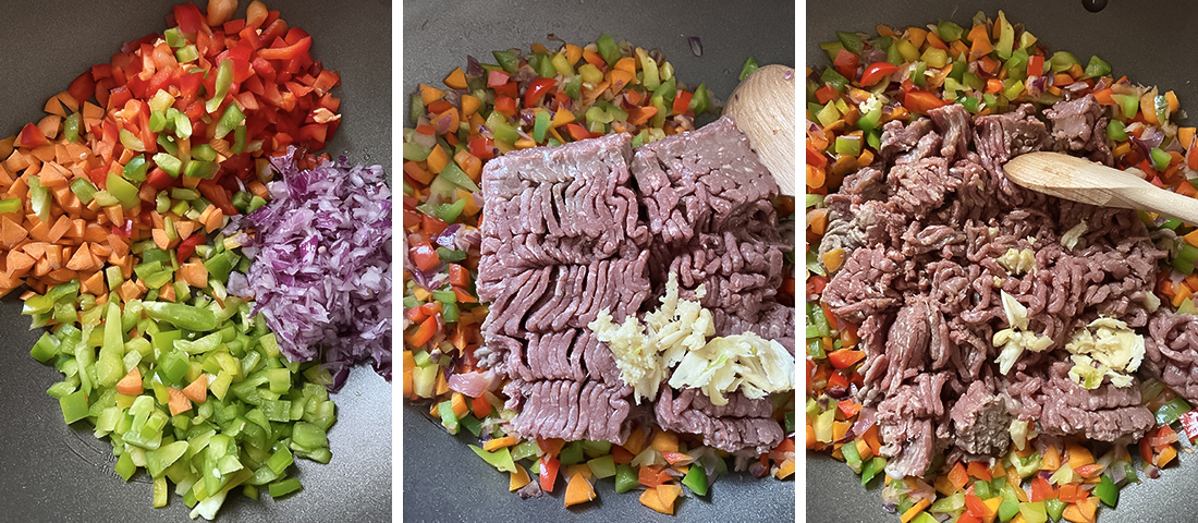 cooking the minced beef.