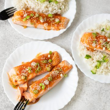 an Seared Salmon with Sweet and Sour Sauce