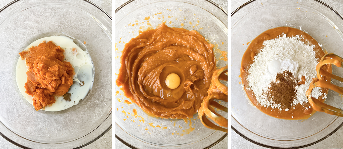 whisk the oil, milk, and brown sugar.
