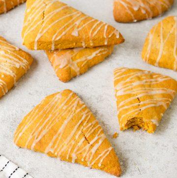 Pumpkin Scones with Vanilla Glaze