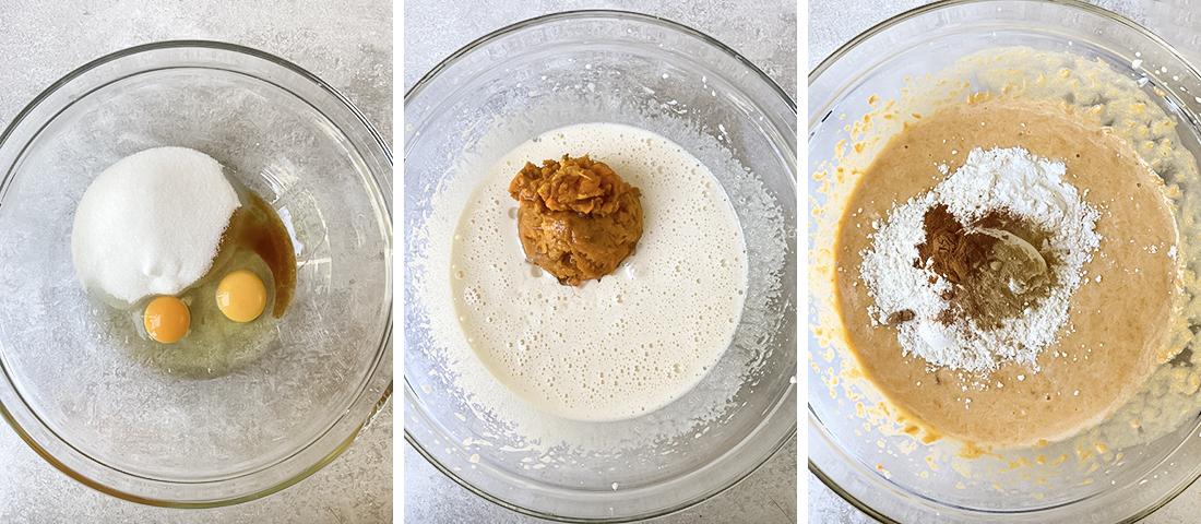 Add oil and potato puree; keep mixing.
